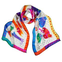 Wrapables Vibrant 100% Silk Long Scarf 51″ x 10.5″, Rainbow Felines on White