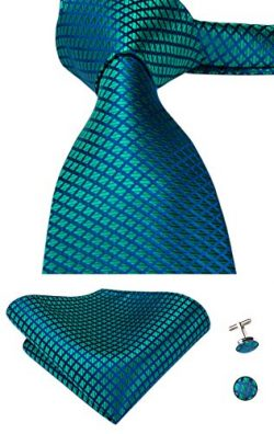 Hi-Tie Green Woven Silk Tie Necktie Handkerchief Cufflinks Set for Men (Teal Plaid)