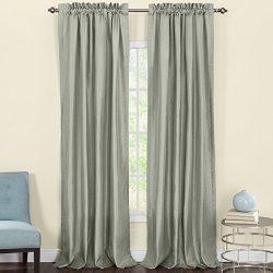 Heritage Landing Faux Silk Window Panel Pair, 96″, Sage