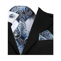 Barry.Wang Designer Silk Tie Hanky Cufflinks Paisley Set Woven,Blue and Black,One Size