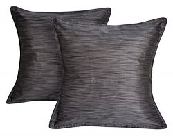 Bedroom Cushion Cover Silk Square Pillowcase Grey 16 x 16 Inches