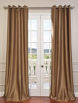 Half Price Drapes PDCH-KBS8-84-GRBO Grommet Blackout Vintage Textured Faux Dupioni Silk Curtain, ...
