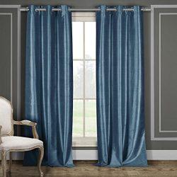 Premium Faux Silk Grommet Top Window Curtain Pair Panel Insulated Drapes For Bedroom, Livingroom ...