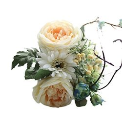 Leewa Artificial Silk Fake Flowers Leaf Rose Wedding Bouquet Party Home Decor (White)
