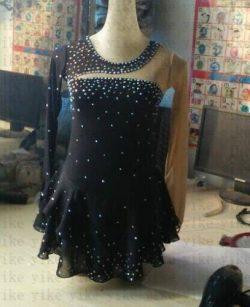 Ice Skating Skirt for Girls Black Silk Figure Competition Dress Custom (Custom)