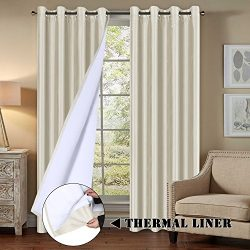 Premium Blackout Curtains All Season Ivory Curtains for Living Room/Bedroom Functional Faux Silk ...