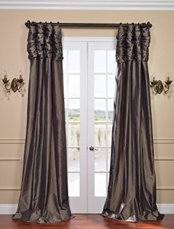 Half Price Drapes PTCH-27-108-RU Ruched Faux Silk Taffeta Curtain, Mushroom