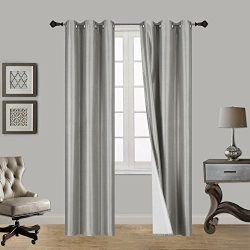 LuxuryDiscounts 2 Piece Thick Faux Silk Blackout Insulated Room Darkening Grommet Top Window Cur ...