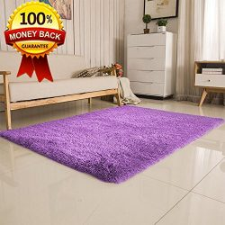SANMU Soft Velvet Silk Rugs,Simple Style Modern Shaggy Carpet Fashion Color Bedroom Mat for Girl ...