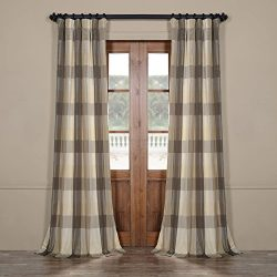 Half Price Drapes Pts-SLK33-84 Faux Silk Plaid Curtain, 50 x 84, Sutton