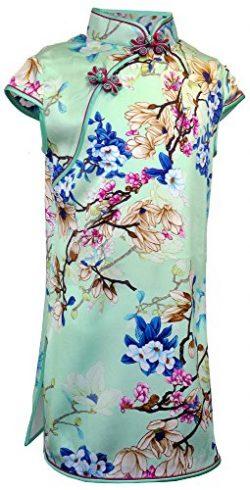 Amazing Grace Girls' Chinese Silk Floral Print Qipao Cheongsam Dress (12, Green Floral)