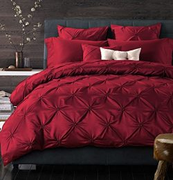 Adyonline 4 Pcs Comforter Duvet Cover Bedding Set,Silk Cotton\Tencel Cotton Bedding,Pinch Pleat  ...