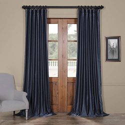 Half Price Drapes Pdch-HANB89-96 Yarn Dyed Faux Dupioni Silk Curtain, 50 x 96, Egyptian Blue