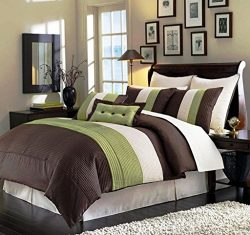 Legacy Decor 8pcs Full Size Brown, Sage and Beige Faux Silk Striped Comforter Set Bed in a Bag