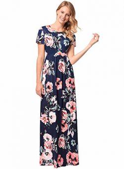 Women's Short Sleeve Evening Party Long Floral Silk Pleated Vintage Maxi Dress Navy XL