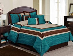 7 Piece MYA Embroidary and Patchwork Bed in a Bag Comforter Sets- Queen King Size (King, Teal)