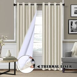 84 inch Blackout Curtains for Bedroom Dupioni Faux Silk Lined Curtain Panels for Living Room &#8 ...