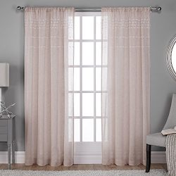 Exclusive Home Davos Puff Embellished Belgian Linen Sheer Rod Pocket Window Curtain Panel Pair,  ...