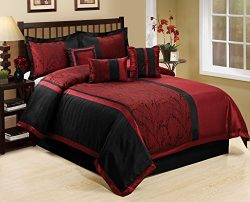 7 Piece LETICIA Tree Branches jacquard Burgundy Black Comforter Set- Queen King Cal.King Size (Q ...
