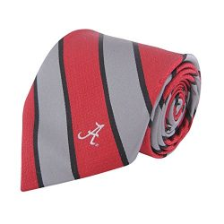 NCAA Alabama Crimson Tide Mens Woven Silk Repp Stripe Collegiate Logo Tie 1, Crimson and Grey, O ...