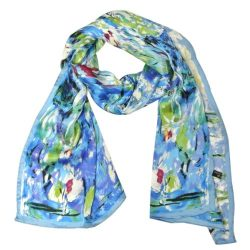 Wrapables Luxurious 100% Charmeuse Silk Long Scarf with Hand Rolled Edges, Claude Monet's  ...