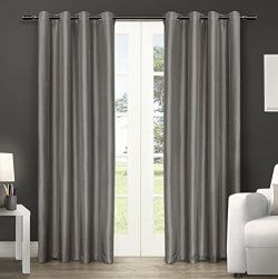 Exclusive Home Curtains Chatra Faux Silk Grommet Top Window Curtain Panel Pair, Silver Cloud, 54 ...