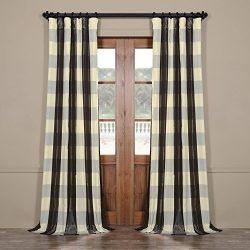 Half Price Drapes Pts-SLK100-96 Faux Silk Plaid Curtain, 50 x 96, Essex