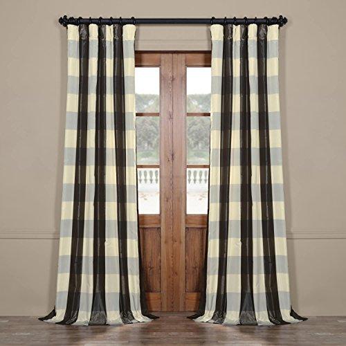 Half Price Drapes Pts Slk100 96 Faux Silk Plaid Curtain
