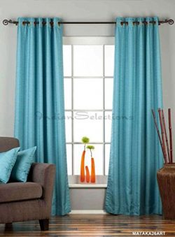 Turquoise Ring Top Matka Raw Silk Curtain / Drape – 43W x 96L – Piece