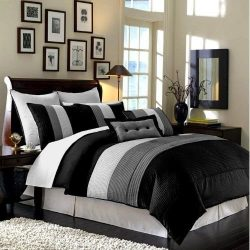 Chezmoi Collection 90 x 92-Inch 8-Piece Luxury Stripe Comforter Bed-in-a-Bag Set, Black/White/Gr ...