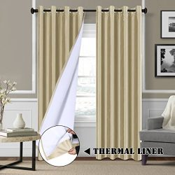 Blackout Lined Curtains Faux Silk with Natural Liner Backing (2 Panels) Thermal Insulated Nickel ...