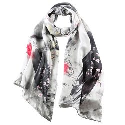 STORY OF SHANGHAI Women's 100% Silk Scarf Luxury Satin Graphic Painted Shawl Wraps DY11