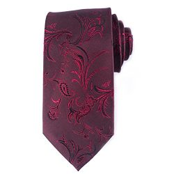 Qobod classic ties mens silk neckties gift boxes tie WINE RED paisley FLOWER