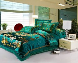 Best Jacquard Chinese Wedding Bedding Set Dragon Phoenix Double Blessing Embroidery Lace Silk Du ...