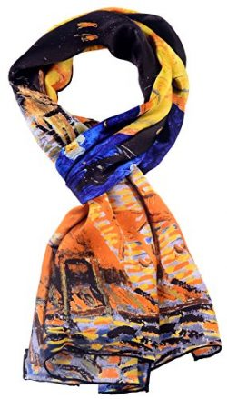 Salutto Women 100% Silk Scarves Van Gogh Painted Cafe Scarf