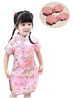 CRB Fashion Little Girls Toddler Chinese New Years Asian Qipao Hair Clip Outfit Dress (Pink, 6 Y ...