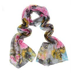 ChikaMika Floral Scarves for Women Super Lightweight Scarf Fashion Chiffon Purple Wrap Shawls