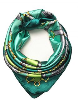 YOUR SMILE Silk Like Scarf Women's Fashion Pattern Large Square Satin Headscarf Headdress  ...
