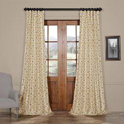 Half Price Drapes Ptpch-170802B-96 Iron Gate Faux Silk Taffeta Blackout Curtain, 50 x 96, Gold