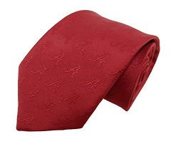 NCAA Alabama Crimson Tide Tone on Tone Repeating Necktie, One Size, Crimson