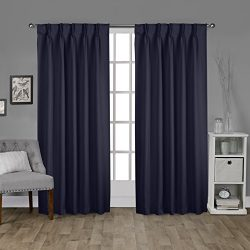 Exclusive Home Curtains Sateen Pinch Pleat Woven Blackout Back Tab Window Curtain Panel Pair, Pe ...