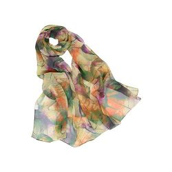 MELODY STORY Unique Print Silk Feeling Scarf For Women 63×20 Inches (grass green)