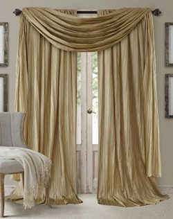 Elrene Home Fashions Venice Faux Silk Pair of Rod Pocket Curtain Panels with Scarf Valance &#821 ...