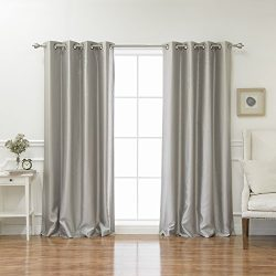 Best Home Fashion Grey Dupioni Faux Silk Grommet Top Blackout Curtain 84″ L – 1 Pair