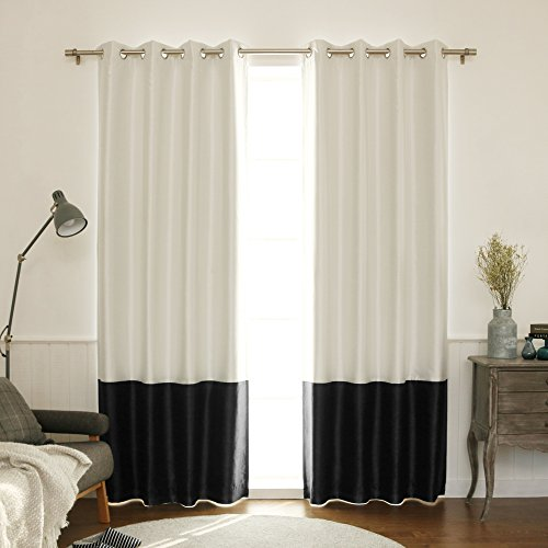 Best Home Fashion ColorBlock Faux Silk Blackout Curtain – Stainless Steel Nickel Grommet T ...