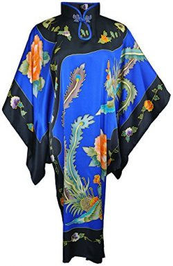 Amazing Grace Elephant CO. Chinese Hand Painted Silk Mumu Peacock (Blue Peacock)