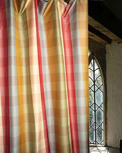 Savanna Faux Silk Taffeta Checkered Lined Rod Pocket Window Curtain/ Drape /Panel (Blue Gold Ivo ...
