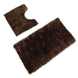 Sunnyglade Bright Silk Bathroom Contour Rugs Combo, Set of 2 Chenille Fabric Microfiber Soft Sha ...