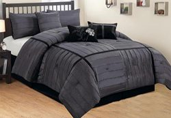 7-pc Grey / Chorcoal & Black Faux Silk Stitched Comforter Set, Queen Size