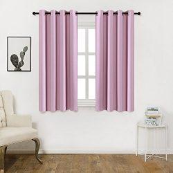 KEQIAOSUOCAI Faux Silk 99.99% Blackout Darkening Curtains Window Panel Drapes-1 Panel,Baby Pink, ...